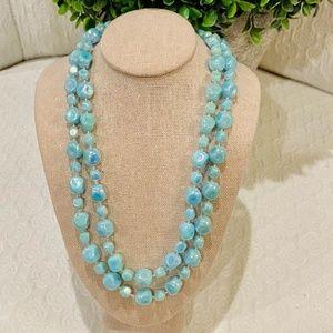 Vintage Blue Opalescent Costume Necklace *811*